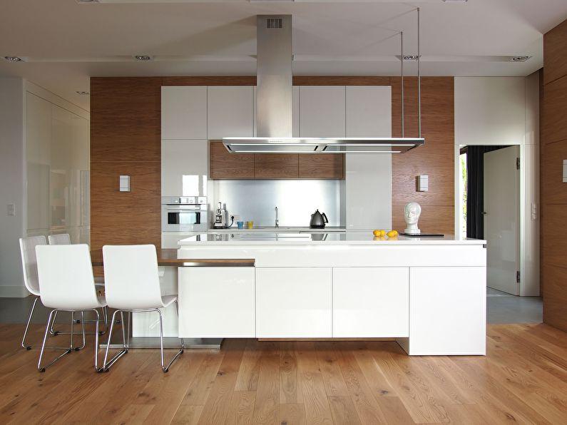 Дизайн кухни с островом в стиле минимализм - фото