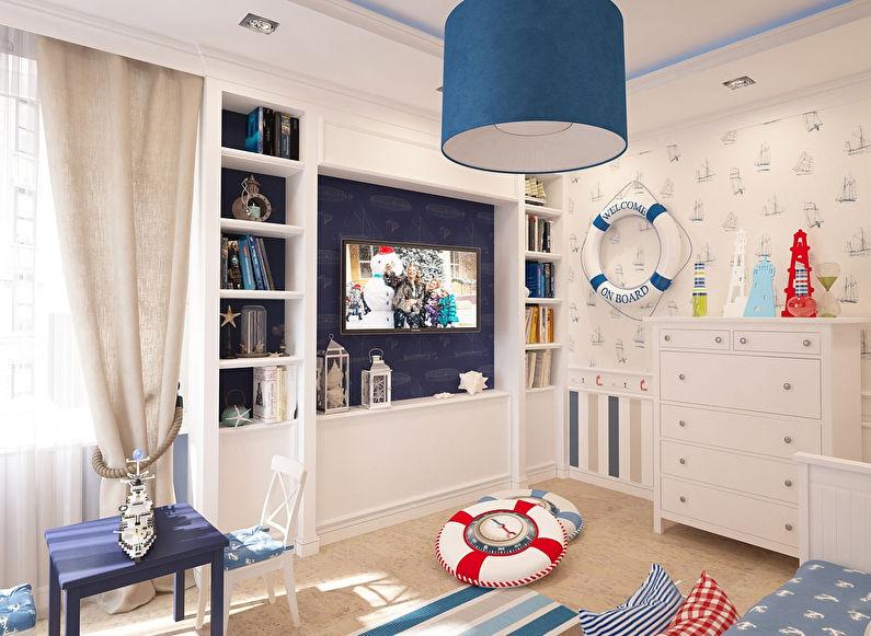 Дизайн маленькой детской комнаты в морском стиле