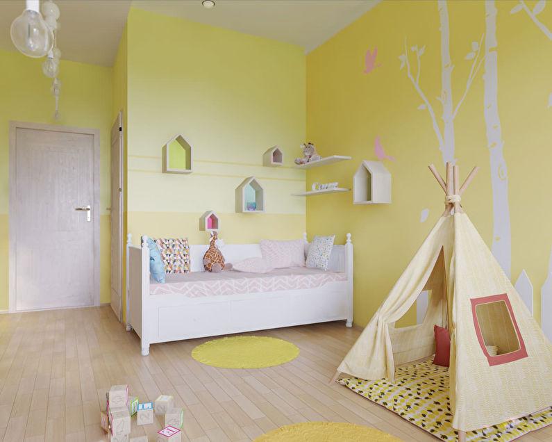 Маленькая детская комната в желтых тонах