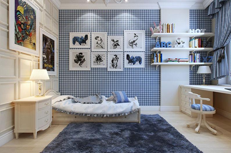 Маленькая детская комната в синих тонах