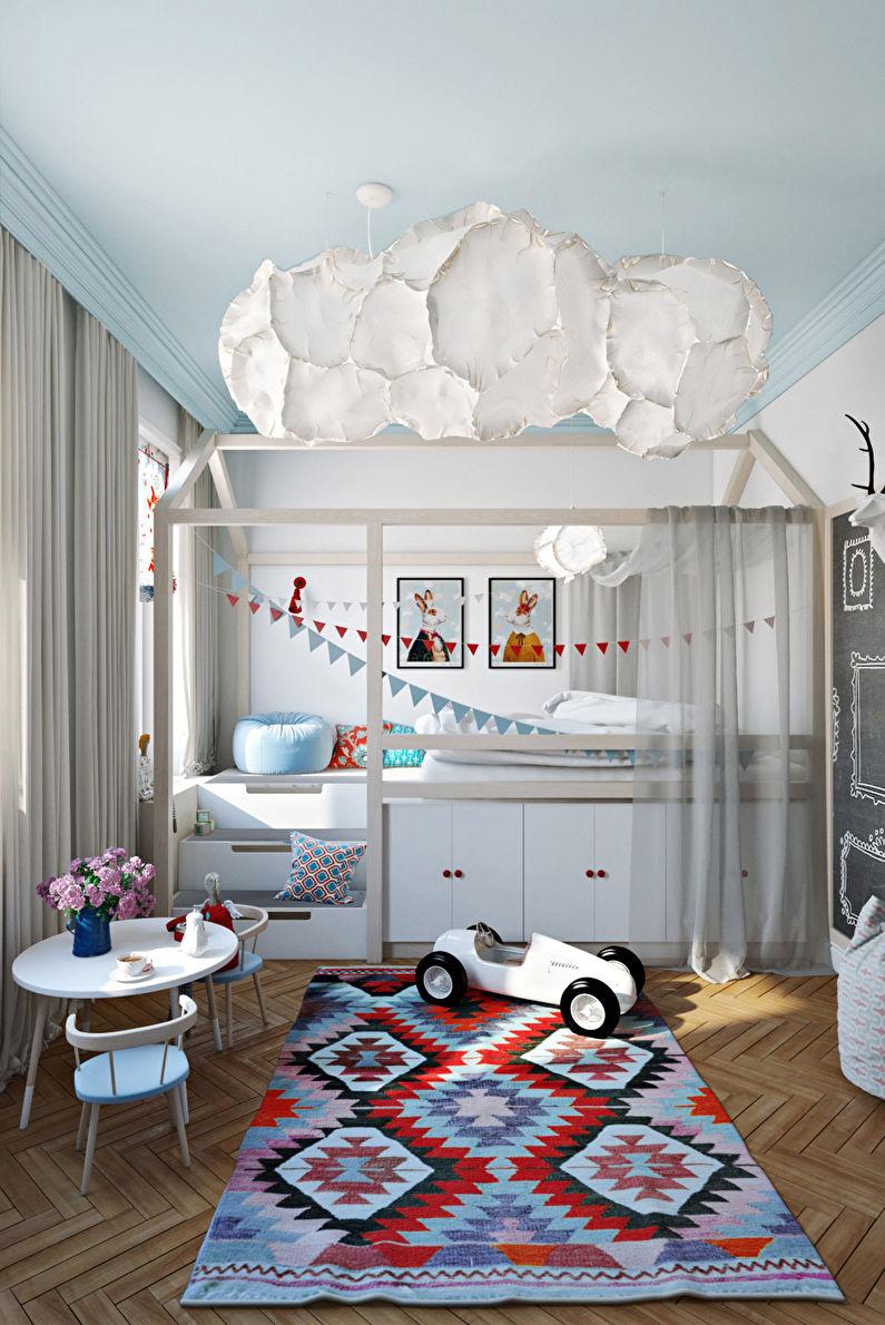 Дизайн потолка в маленькой детской комнате