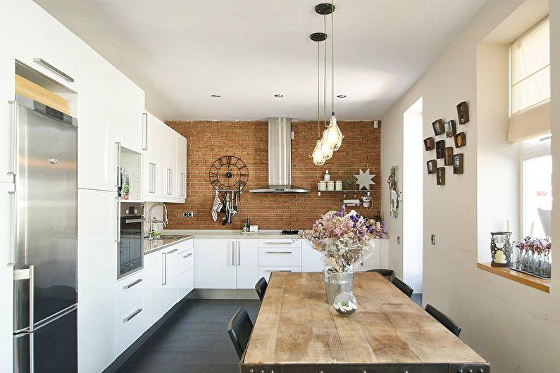 Белая кухня в стиле лофт - фото