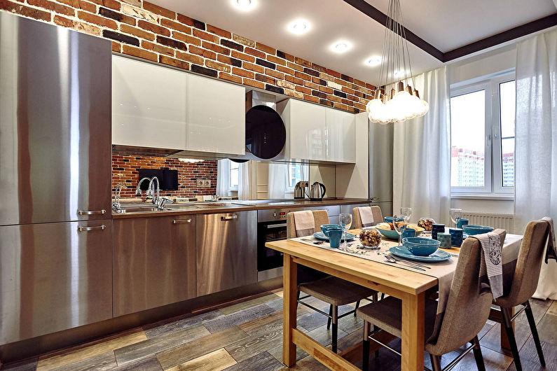 Серая кухня в стиле лофт - фото