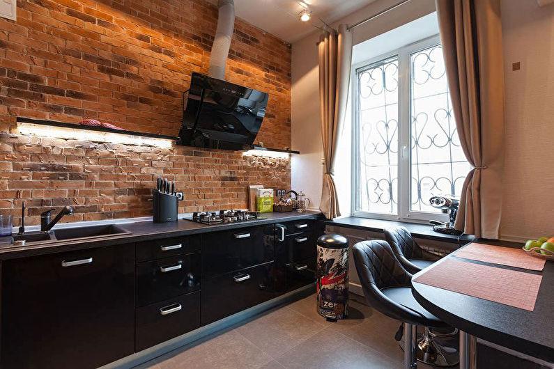 Черная кухня в стиле лофт - фото