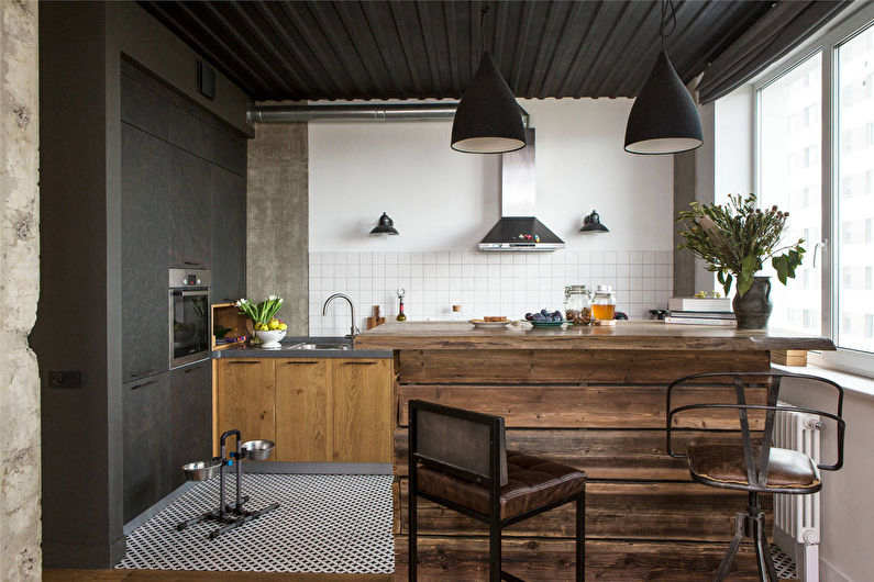Деревянная кухня в стиле лофт - фото