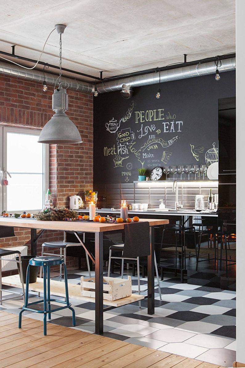 Отделка стен - кухня в стиле лофт