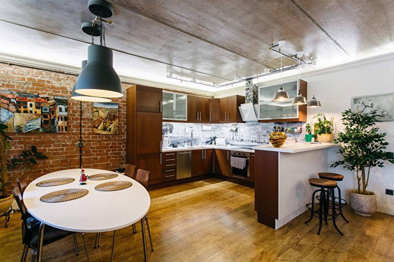 Дизайн потолка - кухня в стиле лофт