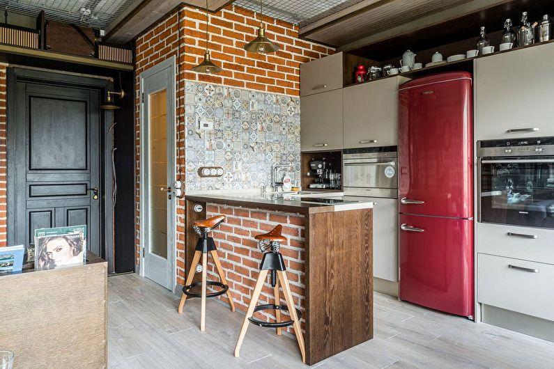 Холодильник - кухня в стиле лофт