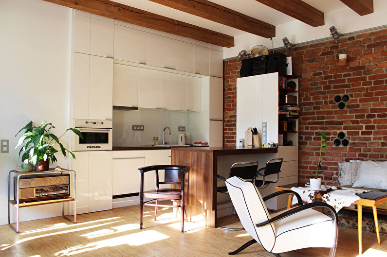 Дизайн кухни-гостиной в стиле лофт - фото