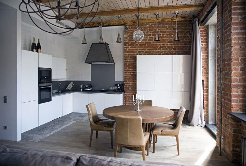 Дизайн угловой кухни в стиле лофт - фото