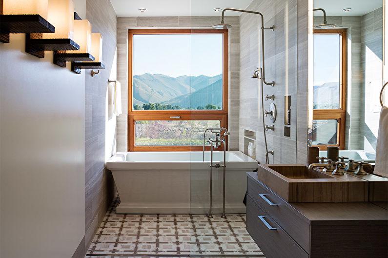 Дизайн узкой ванной комнаты - Отделка пола