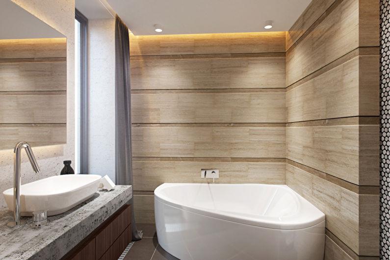 Дизайн узкой ванной комнаты - Отделка потолка