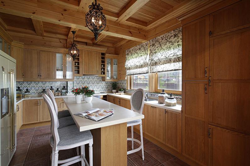 Кухня с островом в стиле кантри - Дизайн интерьера