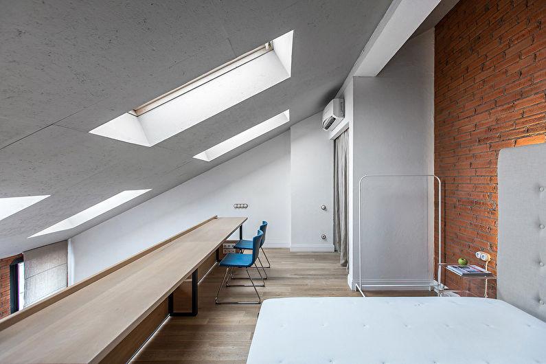 Белая спальня в стиле лофт - Дизайн интерьера