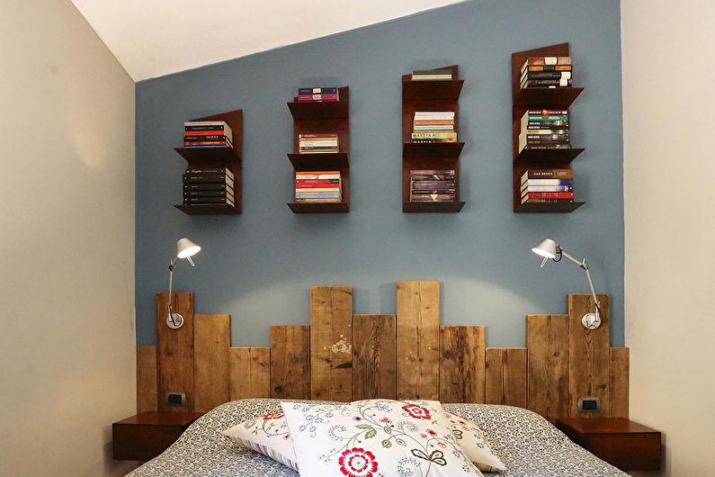 Синяя спальня в стиле лофт - Дизайн интерьера