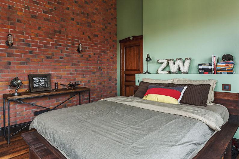 Зеленая спальня в стиле лофт - Дизайн интерьера
