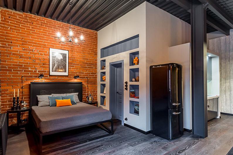 Серая спальня в стиле лофт - Дизайн интерьера