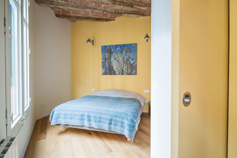 Желтая спальня в стиле лофт - Дизайн интерьера
