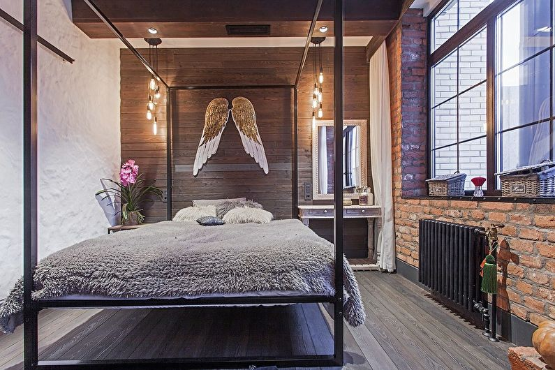 Дизайн спальни в стиле лофт: 75 фото и идей, красивые интерьеры