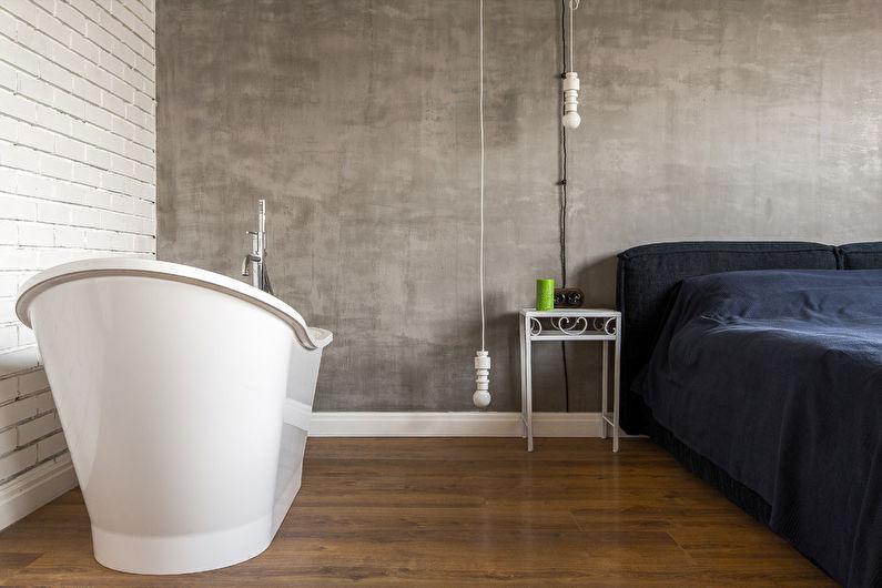 Дизайн спальни в стиле лофт - Отделка стен