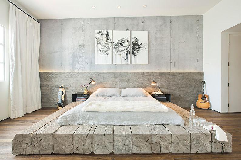 Дизайн спальни в стиле лофт - Декор и текстиль