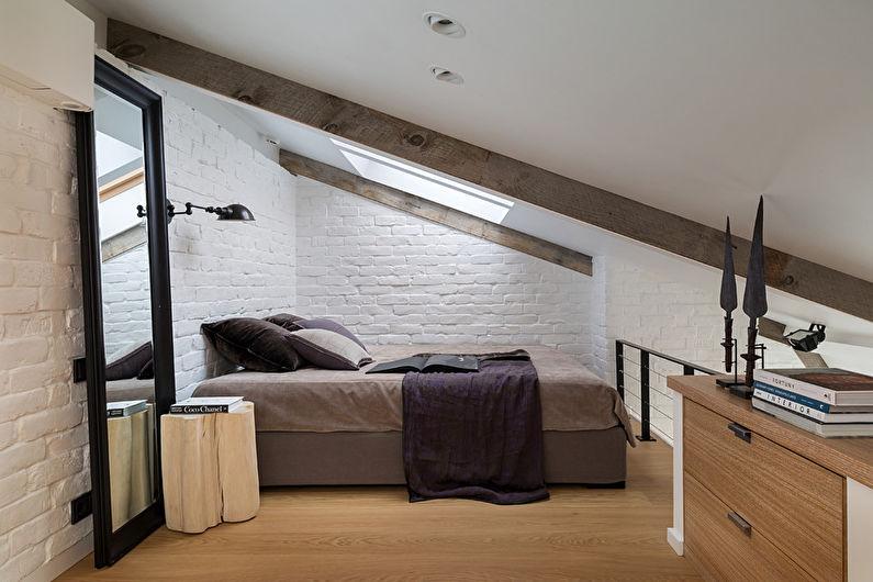 Маленькая спальня в стиле лофт - Дизайн интерьера