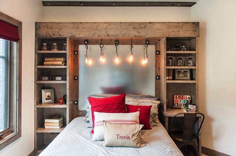 Дизайн интерьера спальни в стиле лофт - фото