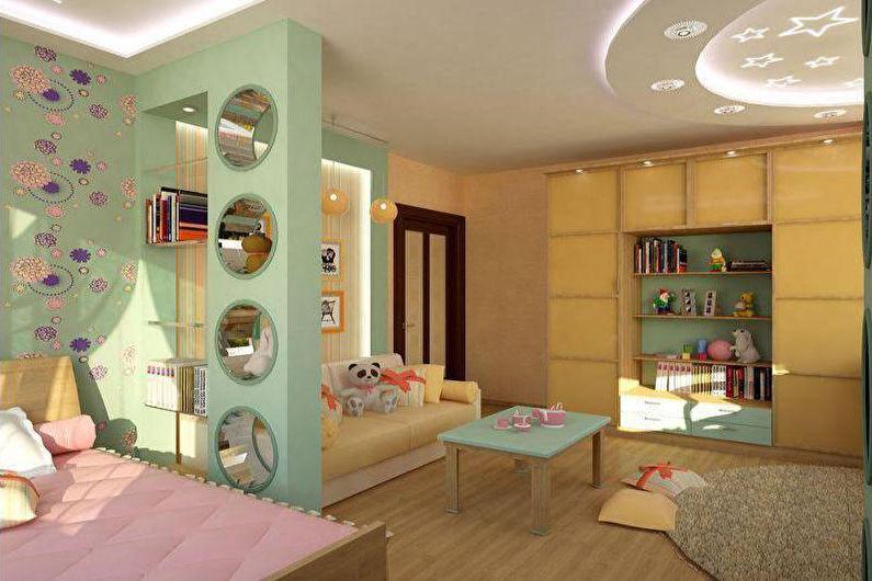 Сочетания цветов в интерьере детской комнаты - Зонирование детской