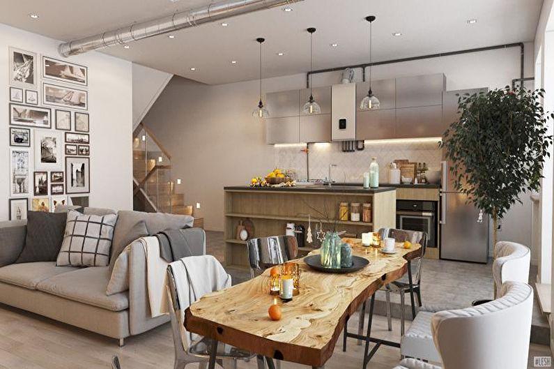 Дизайн интерьера коттеджа или загородного дома - фото