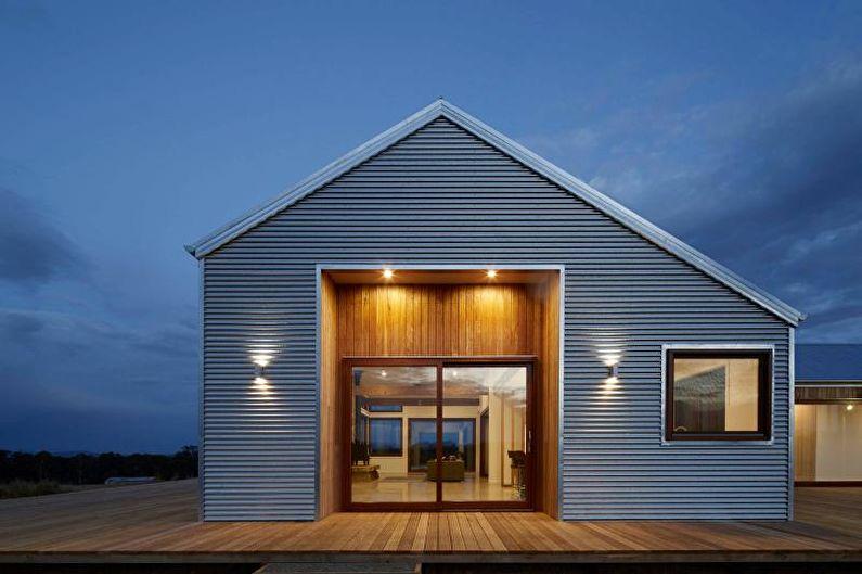 Серый загородный дом в скандинавском стиле - фото