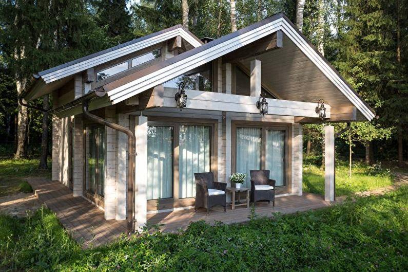 Бежевый загородный дом в скандинавском стиле - фото