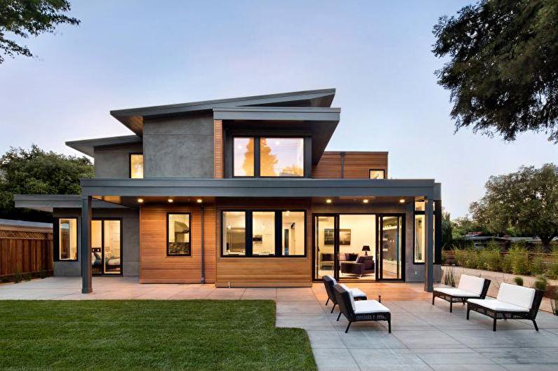Односкатная крыша для частного дома - фото
