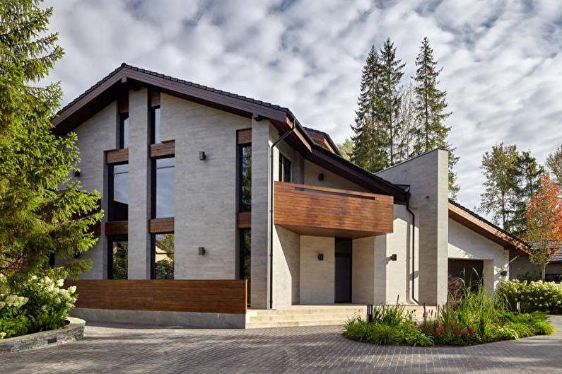 Двускатная крыша для частного дома - фото