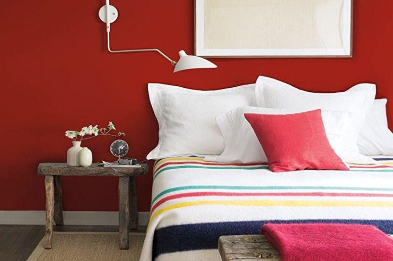 Красная спальня - Дизайн интерьера 2018