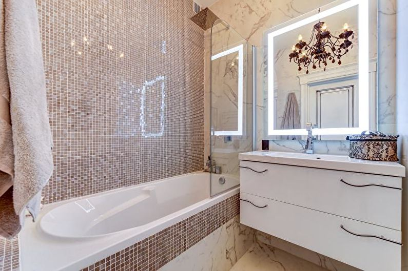 Белая ванная комната: дизайн с панно, кафелем и др 90