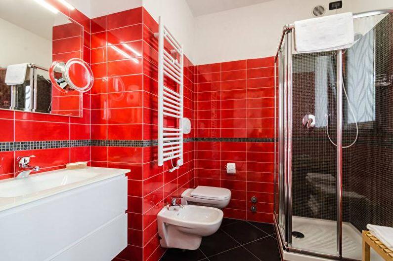 Красная ванная комната - Дизайн интерьера 2021
