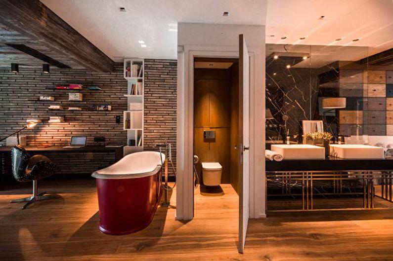 Красная ванная комната - Дизайн интерьера 2018