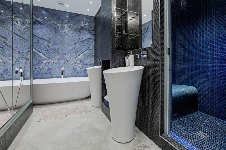 Синяя ванная комната - Дизайн интерьера 2018