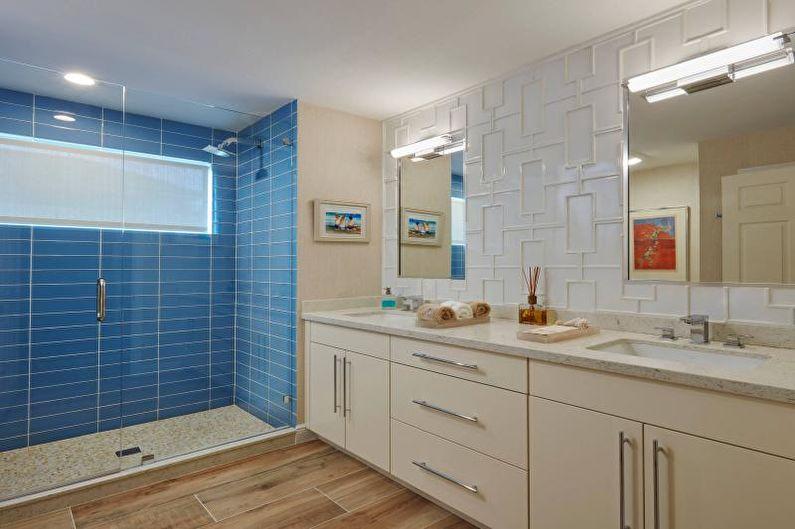 Дизайн ванной комнаты 2021 - Отделка потолка