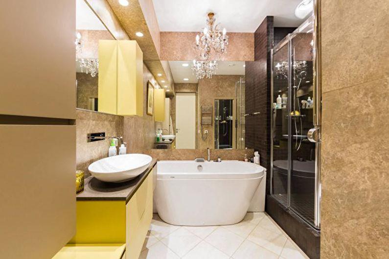Дизайн интерьера маленькой ванной комнаты 2018