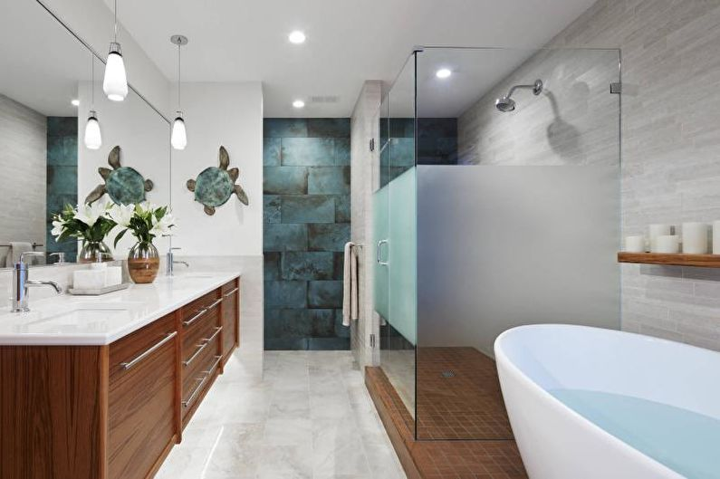 Дизайн интерьера ванной комнаты 2021 - фото