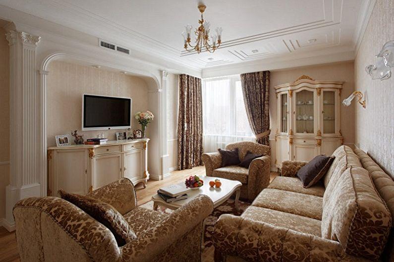 Гостиная - Дизайн квартиры в классическом стиле