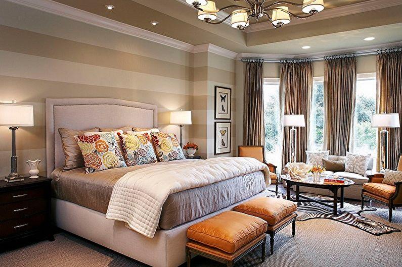 Дизайн спальни 15 кв.м. - Отделка стен