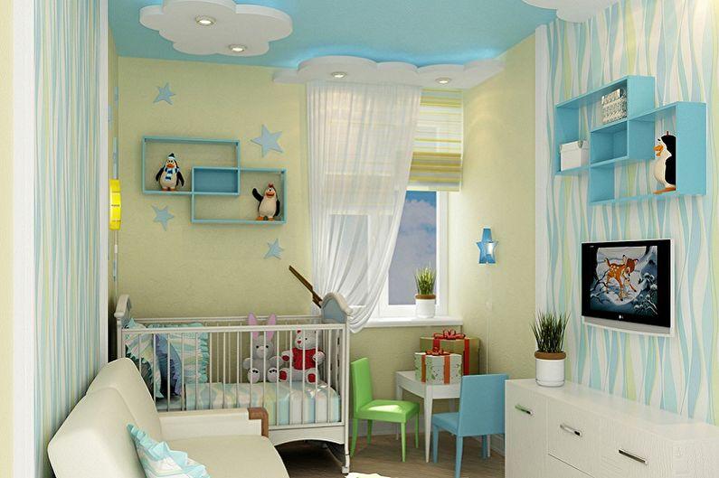 Дизайн маленькой детской комнаты - Отделка потолка