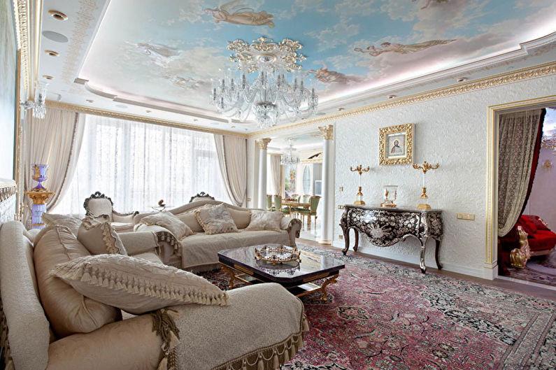 Натяжной потолок с фотопечатью в зале (гостиной) - фото