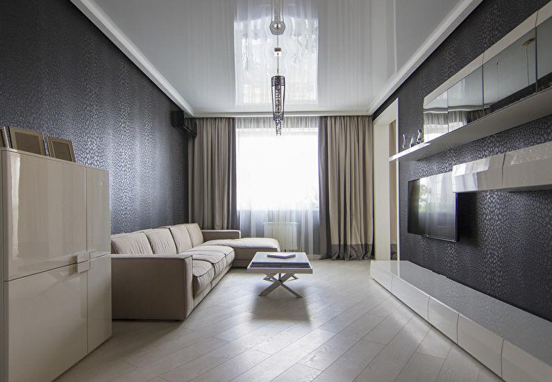 Белый натяжной потолок в зале (гостиной) - фото