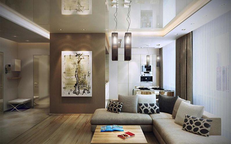Натяжной потолок в зале (гостиной) - фото