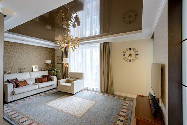 Коричневый натяжной потолок в зале (гостиной) - фото