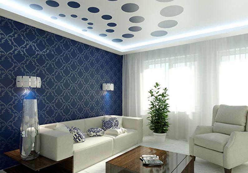 Белый натяжной потолок в зале (гостиной) - фотопечать