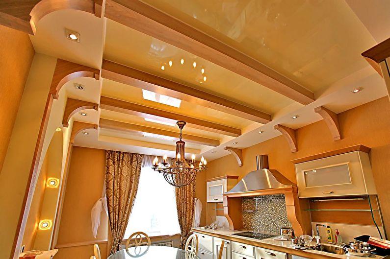 Глянцевый натяжной потолок на кухне - фото